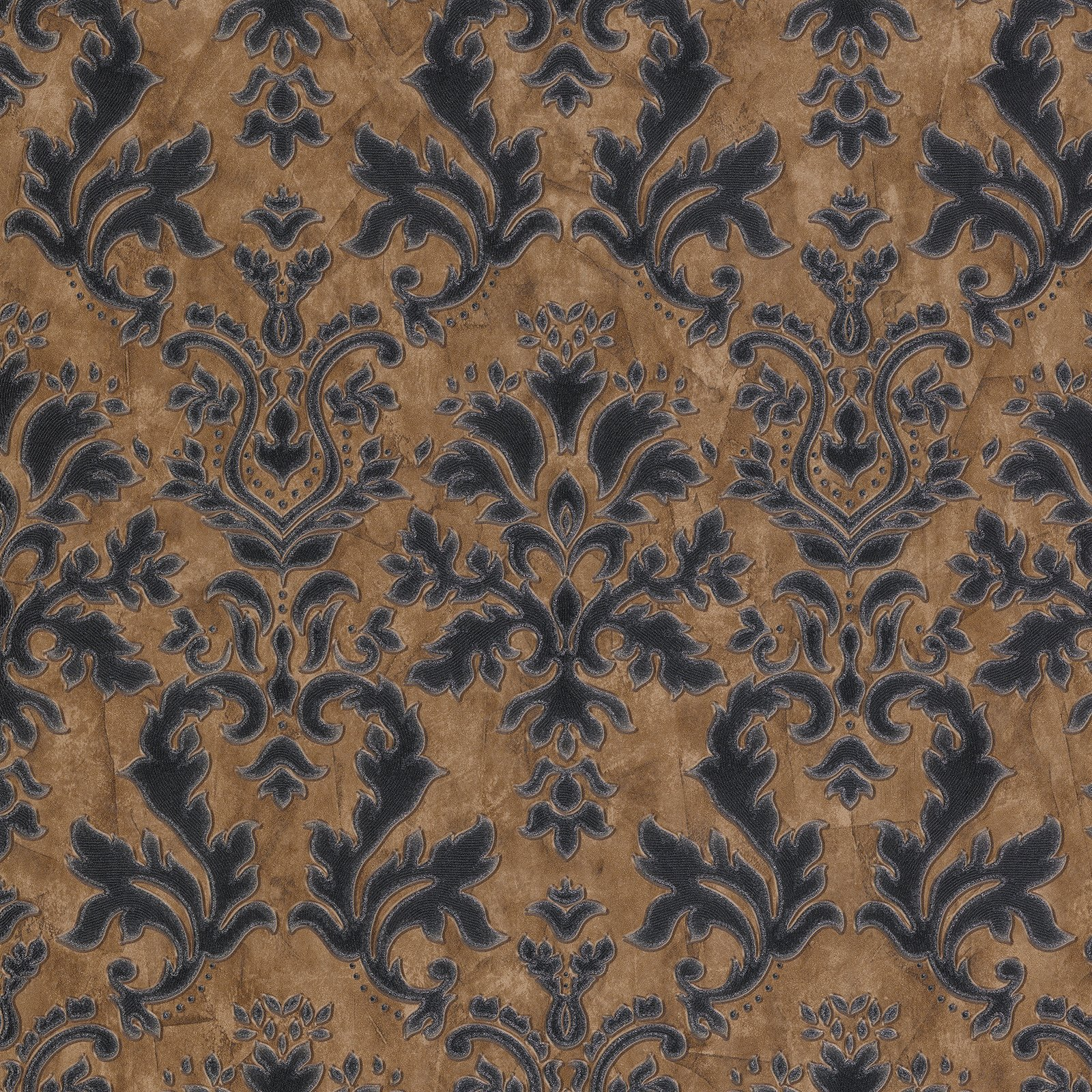 Textured Vinyl Damask Wallpaper Brown, Black and Silver P+S 02485-40