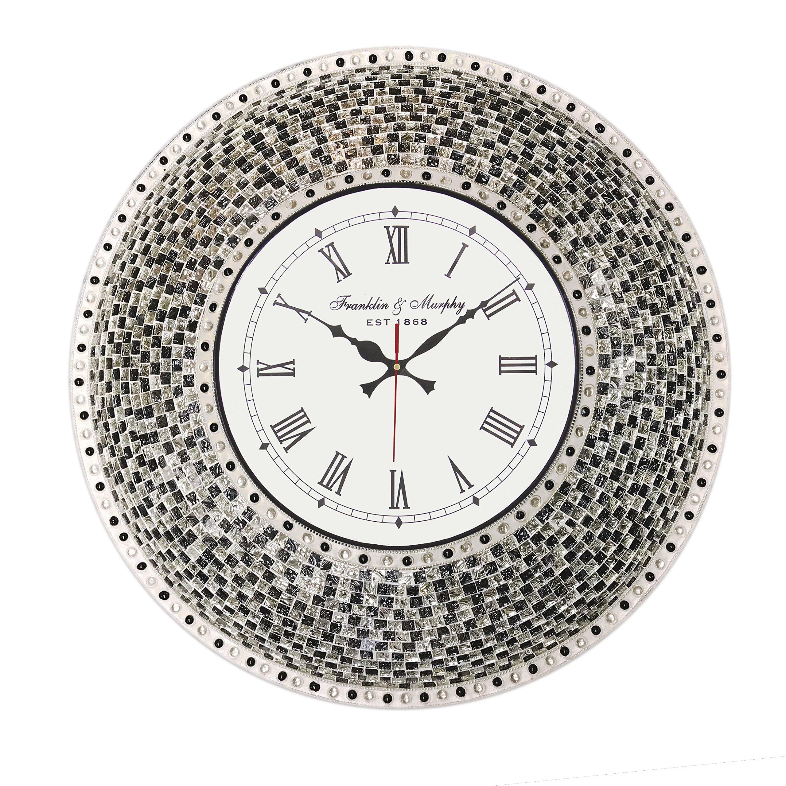 22.5'' Black, Handmade Glass Mosaic Wall Clock, Quiet Motion Design by DecorShore