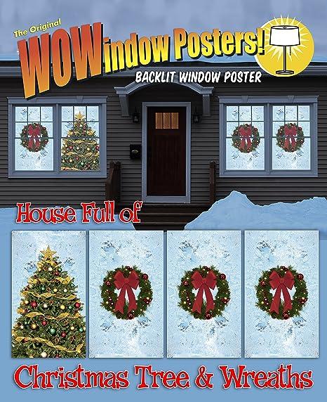 Amazon.com: wowindow Cartel carteles Árbol de Navidad y ...