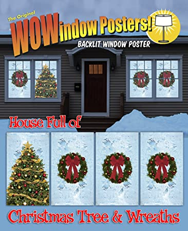 wowindow posters christmas tree and wreaths with frosted background christmas window decorations 345x60 - Christmas Window Decorations Amazon