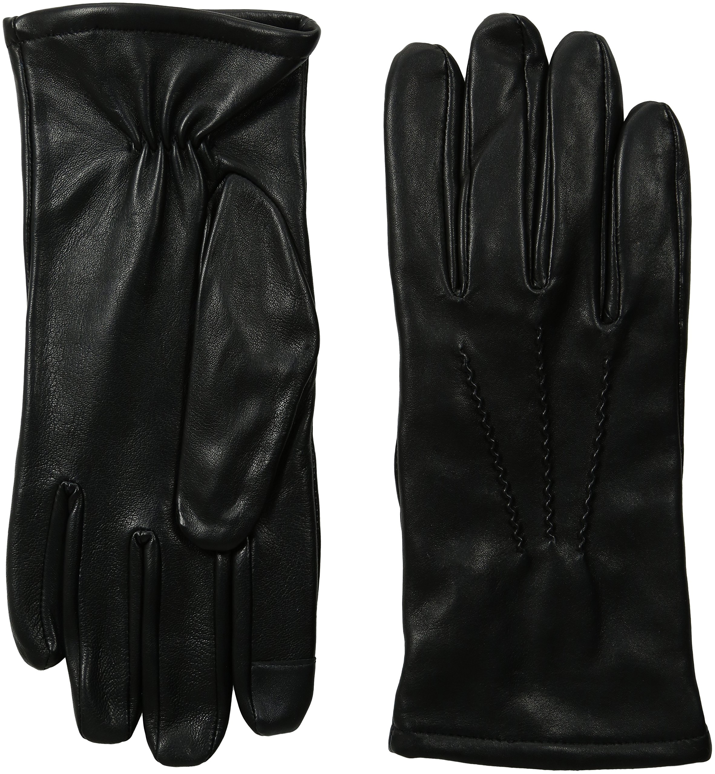 GII Men's Fine Leather Touchscreen Gloves with Cashmere Blend Lining, Black, Large