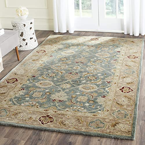 Safavieh Antiquities Collection AT849B Handmade Traditional Oriental Teal Blue and Taupe Wool Area Rug 5 x 8
