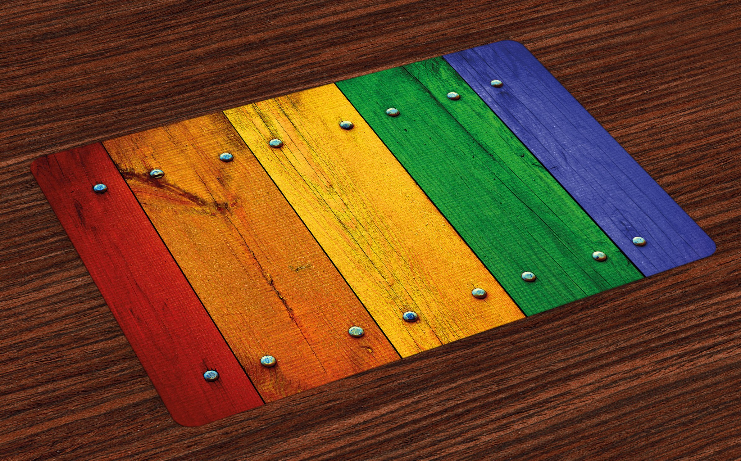 Lunarable Modern Place Mats Set of 4, Rainbow Colored Red Marigold Green and Blue Painted Woods Farm Door Image Print, Washable Fabric Placemats for Dining Room Kitchen Table Decoration, Multicolor