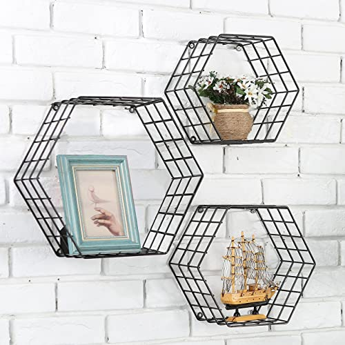 MyGift Metal Wire Hexagon Design Wall-Mounted Shelves, Set of 3, Black
