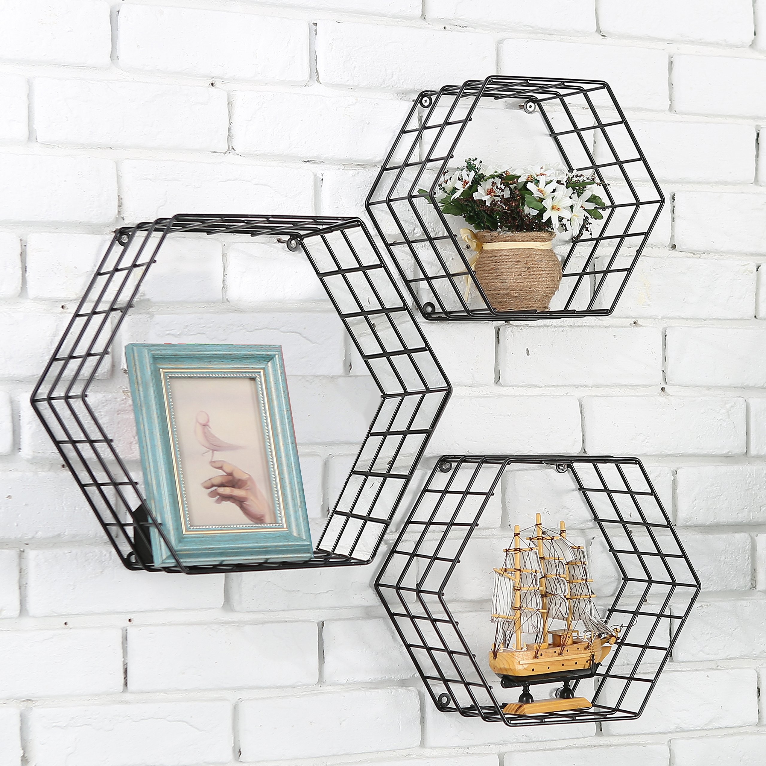 Metal Wire Hexagon Design Wall Mounted Floating Shelves, Set of 3, Black by MyGift