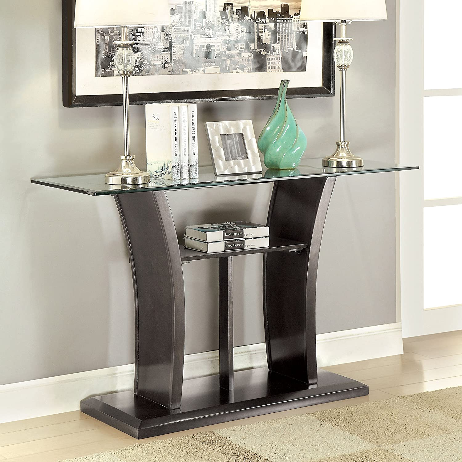 HOMES Inside Out IDF-4104GY-S Corrie Glass Sofa Table, Gray