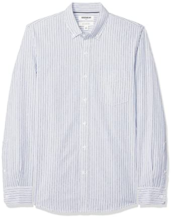 238f5e2f6e3f9 Goodthreads Men's Slim-Fit Long-Sleeve Stripe Oxford Shirt, Blue Narrow  Stripe,