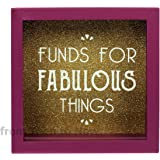 Purple Glass Funds for Fabulous Things Money Box with Wooden Frame