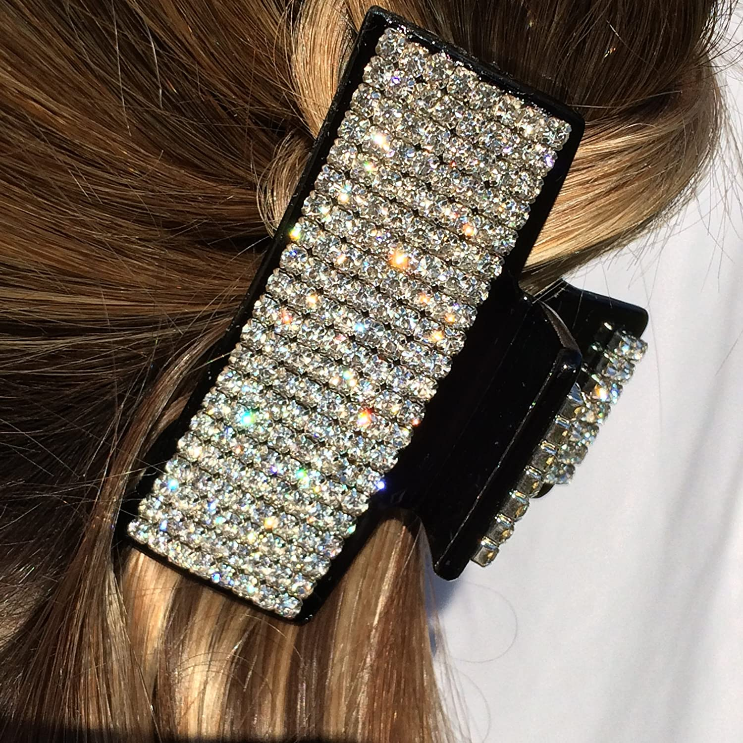 QueenMee Diamante Hair Clip Diamante Hair Claw Clip Rhinestone Hair Claw Rhinestone Hair Clip Crystal Hair Clip Crystal Hair Claw Black Crystal Hair Clip Medium Hair Claw Clamp Hair Jaw Hair Clamp 90 degrees