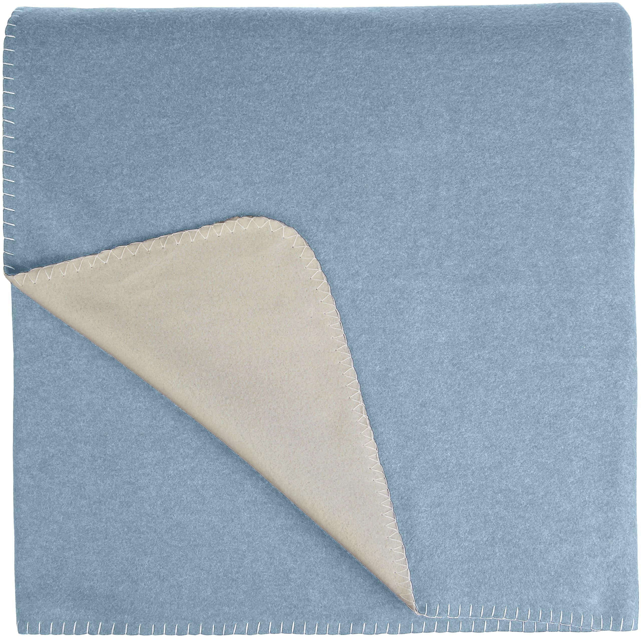 AmazonBasics Reversible Fleece Blanket - Throw, Spa Blue/Taupe by AmazonBasics (Image #5)