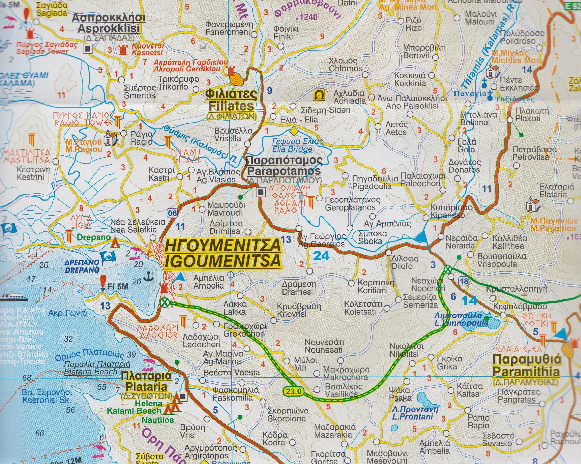 Parga Greece 1 3 000 Street Map Parga Coast 1 160 000 Orama