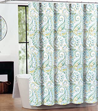 Tahari Fabric Shower Curtain Teal, Green, Gray Hayden Paisley By Tahari Home