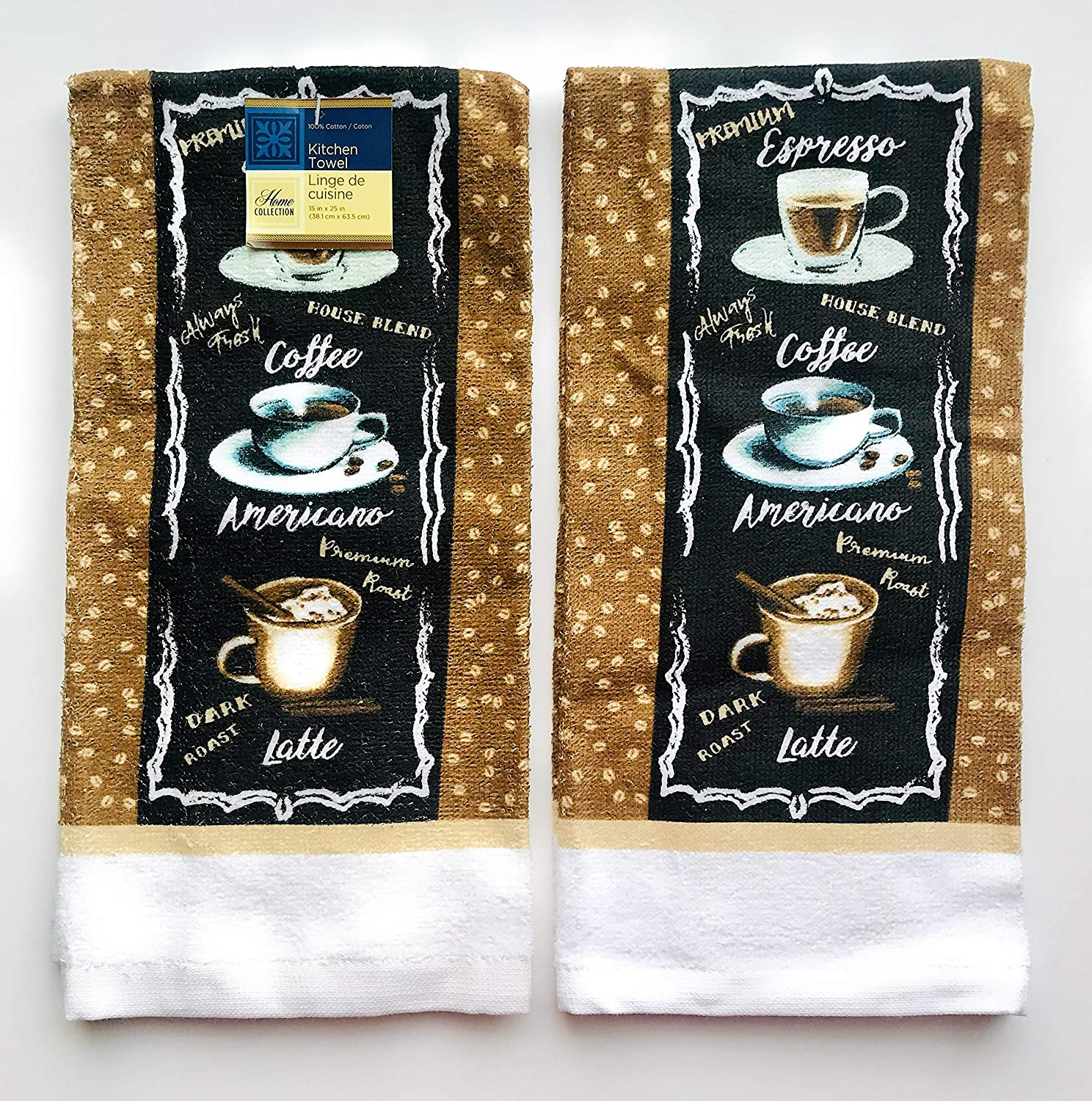 Home Collection Set of 2 Country Coffee Themed Dish Towels