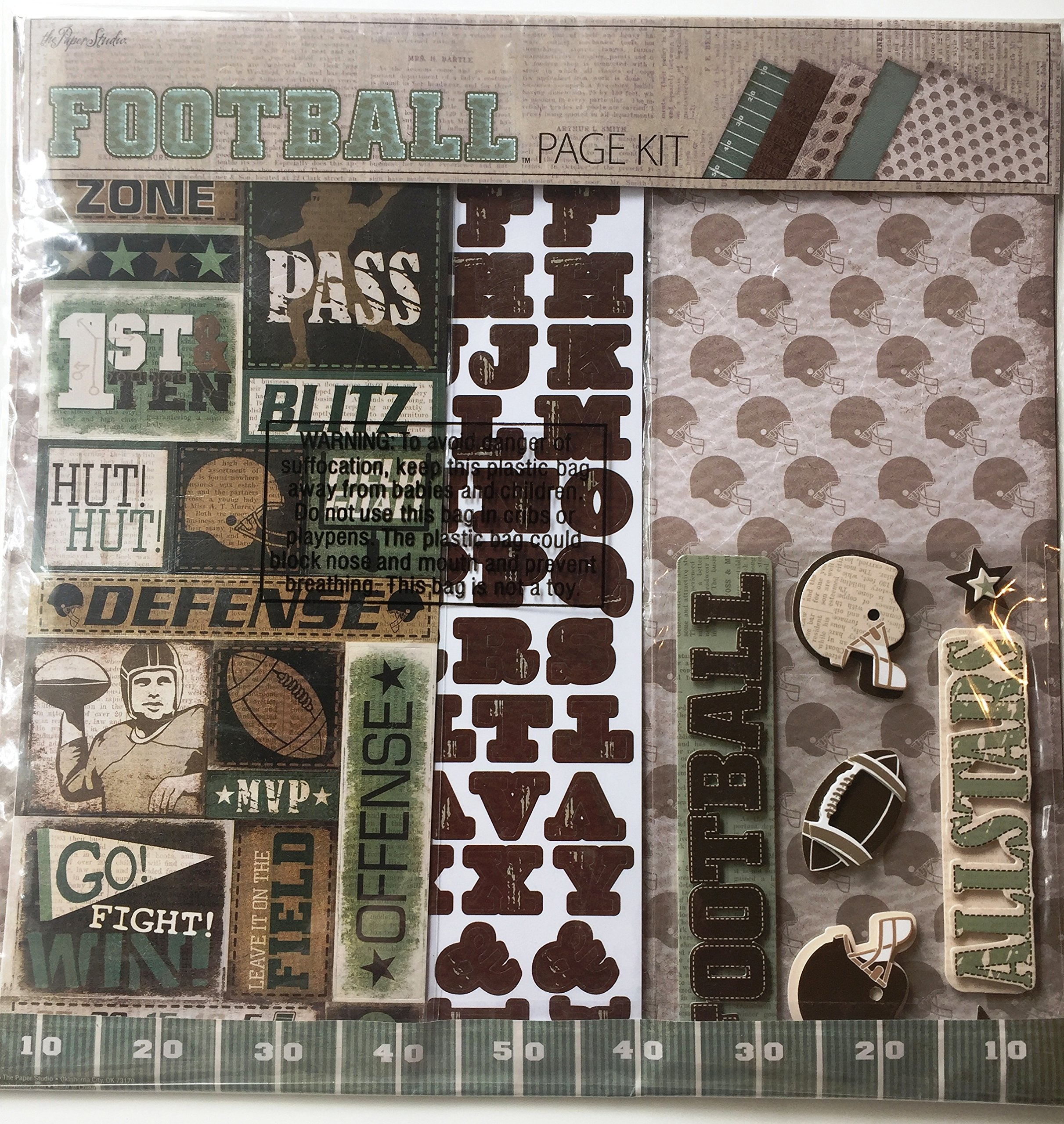 Football 12x12 inch Page Kit, 13 pcs, Paper, Stickers, Embellishments by The Paper Studio (Image #1)