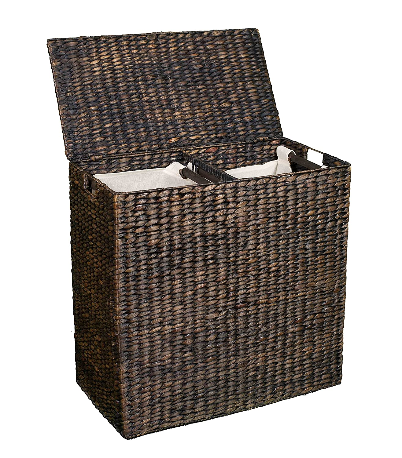 Amazoncom BirdRock Home Water Hyacinth Laundry Hamper Divided