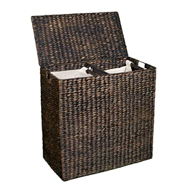 BIRDROCK HOME Double Laundry Hamper with Lid and Divided Interior (Espresso) | Decorative | Eco-Friendly | Hand Woven Water Hyacinth Fibers | Two Removable Liners Bag | Dual Dark Wicker Basket
