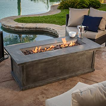 Pablo 56u0026quot; Grey Rectangular Liquid Propane Fire Table