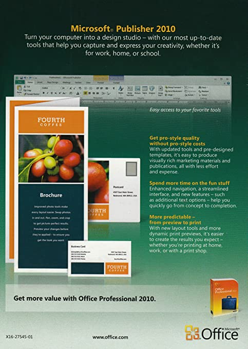 Amazon Com Microsoft Publisher 2010 Software