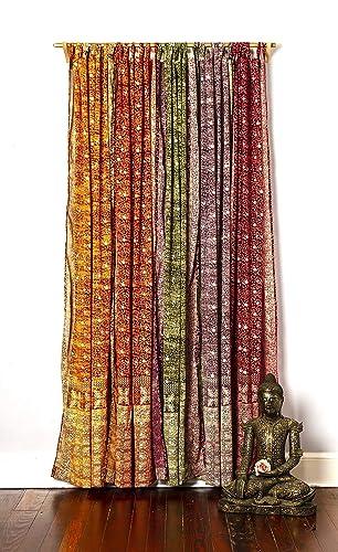 Light-Filtering Sari Colorful Curtains Boho Curtains