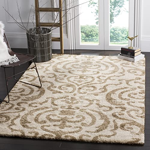 Safavieh Florida Shag Collection SG462-1113 Damask Textured 1.18-inch Thick Area Rug