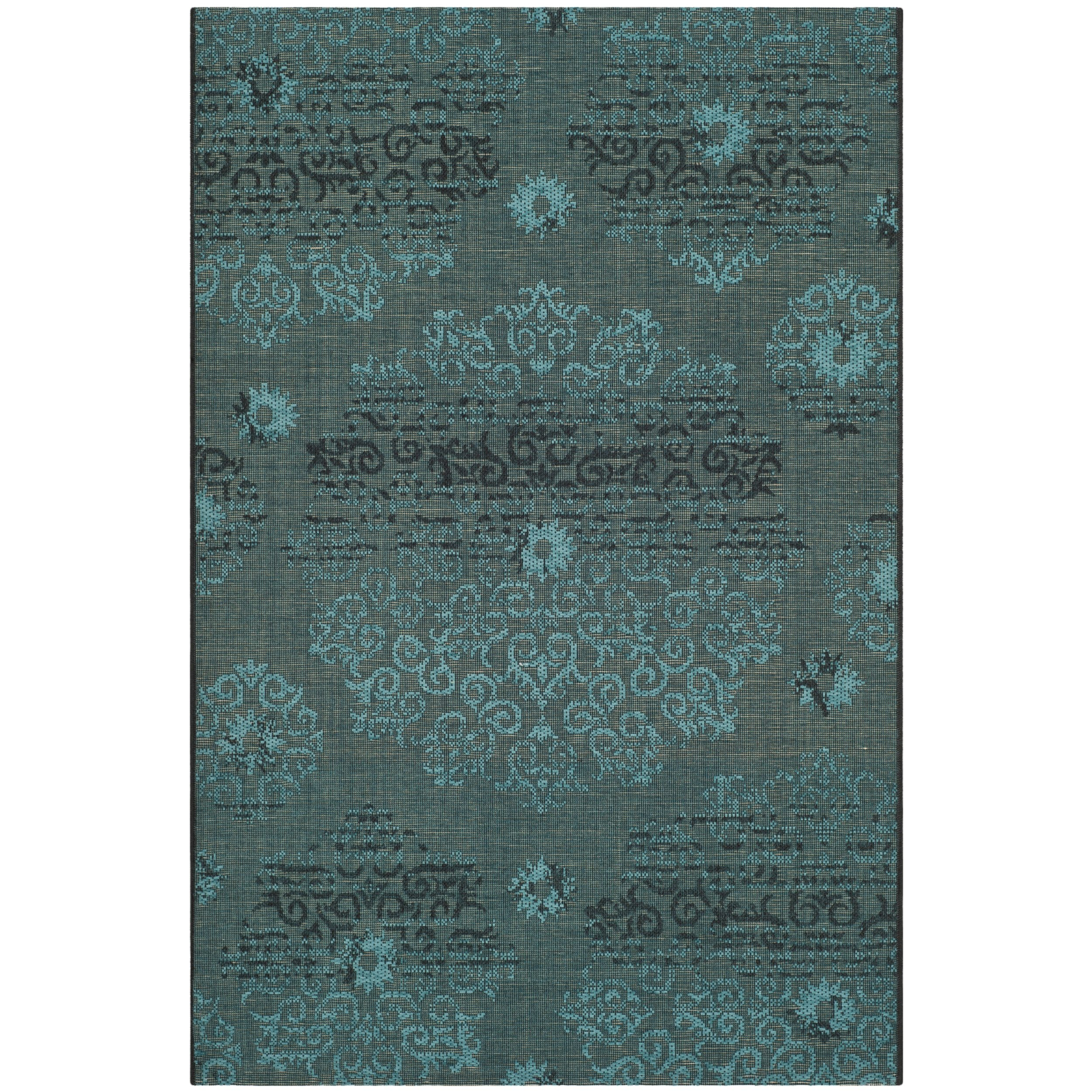 Safavieh Palazzo Collection PAL129-56C4 Black and Turquoise Area Rug (2'6'' x 5')