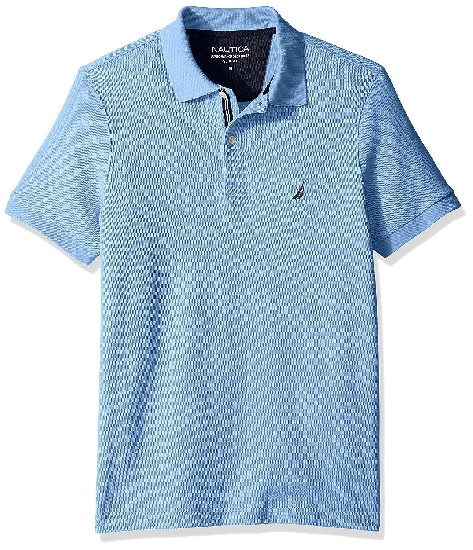 ノーティカMen 'sスリムフィット半袖ソリッドポロシャツ B01NBJSJ8Q S|Noon Blue Noon Blue S