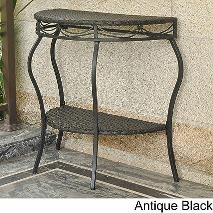 International Caravan Valencia Resin Wicker Outdoor Half Moon Table Antique  Black
