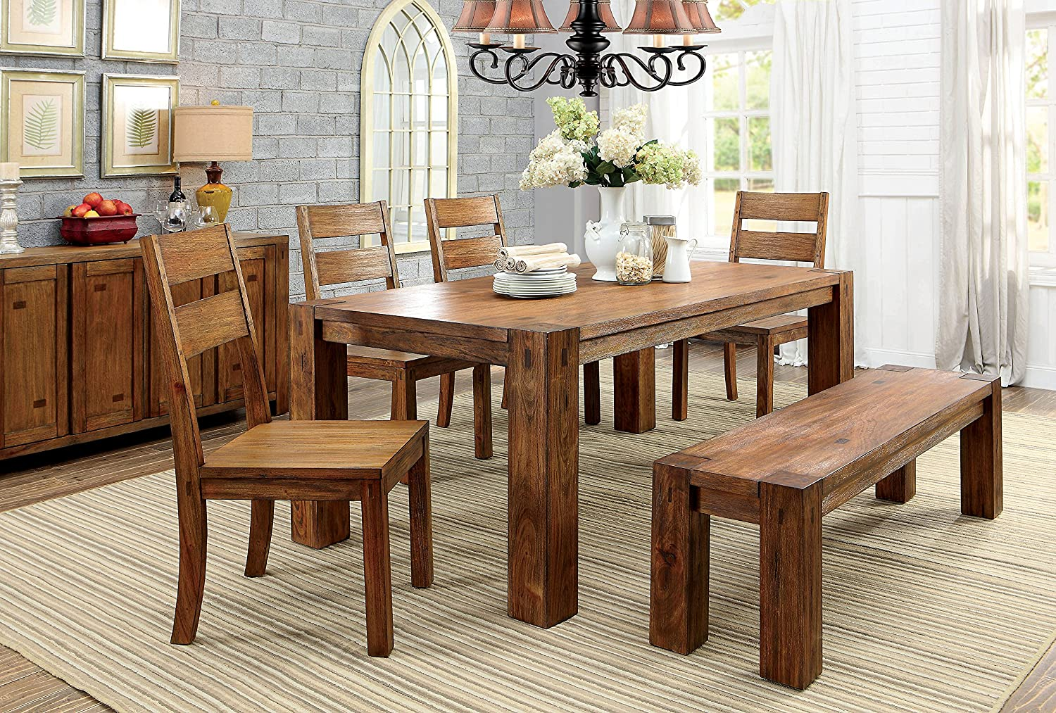 Furniture of America Barkin Dining Table, Dark Oak