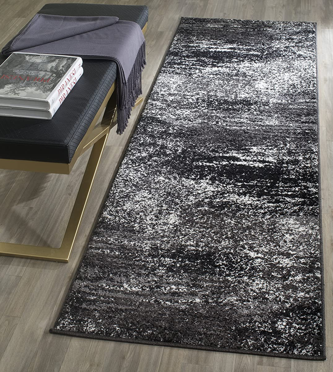 """Safavieh Adirondack Collection ADR112A Silver and Black Modern Abstract Runner (26"""" x 6)"""