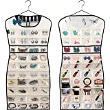 MISSLO Hanging Jewelry Organizer 80 Clear Pockets & 7 Hook Loops Storage for Storing Jewelries, Earrings, Necklaces, Makeups,