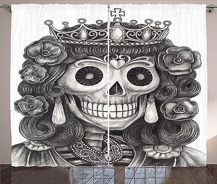 Reina Cortinas By Ambesonne Día De Los Muertos Artwork Mano Dibujo