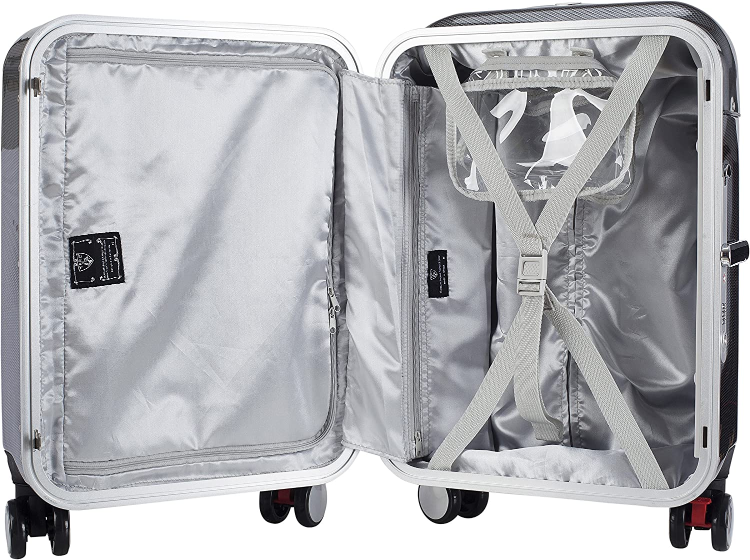 Black TPRC Seat-On 20 Aluminum Frame Hardside Carry-On with Ergonomic Seating Area on Top of Luggage