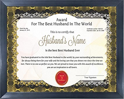 Happy Giftmart Wooden Personalized Husband Award Certificate For