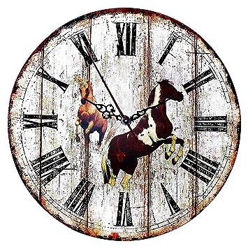 Reloj de Pared de Madera - Reloj Manecillas Silenciosas Números Vintage (Marrón)