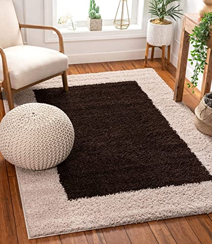 Porta Border Modern Geometric Shag 7×10 6'7'' x 9'10'' Area Rug Brown Beige Plush Easy Care Thick Soft Plush Living Room