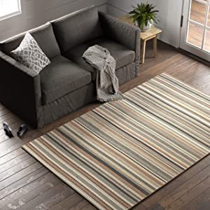 Amazon Brand – Stone & Beam Contemporary Striped Area Rug, 5 x 8 Foot, Neutral