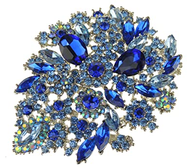 Stunning Extra Large Very Sparkly Ladies Floral 12cm Mother of The Bride Groom Brooch qITPFtFe