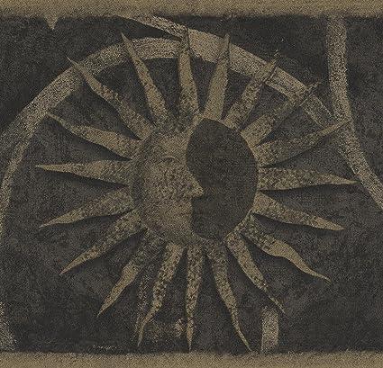 Vintage Dark Beige Faces On Sun Damask Scroll Grey Black Wallpaper Border Retro Design Roll 15 X 6 75