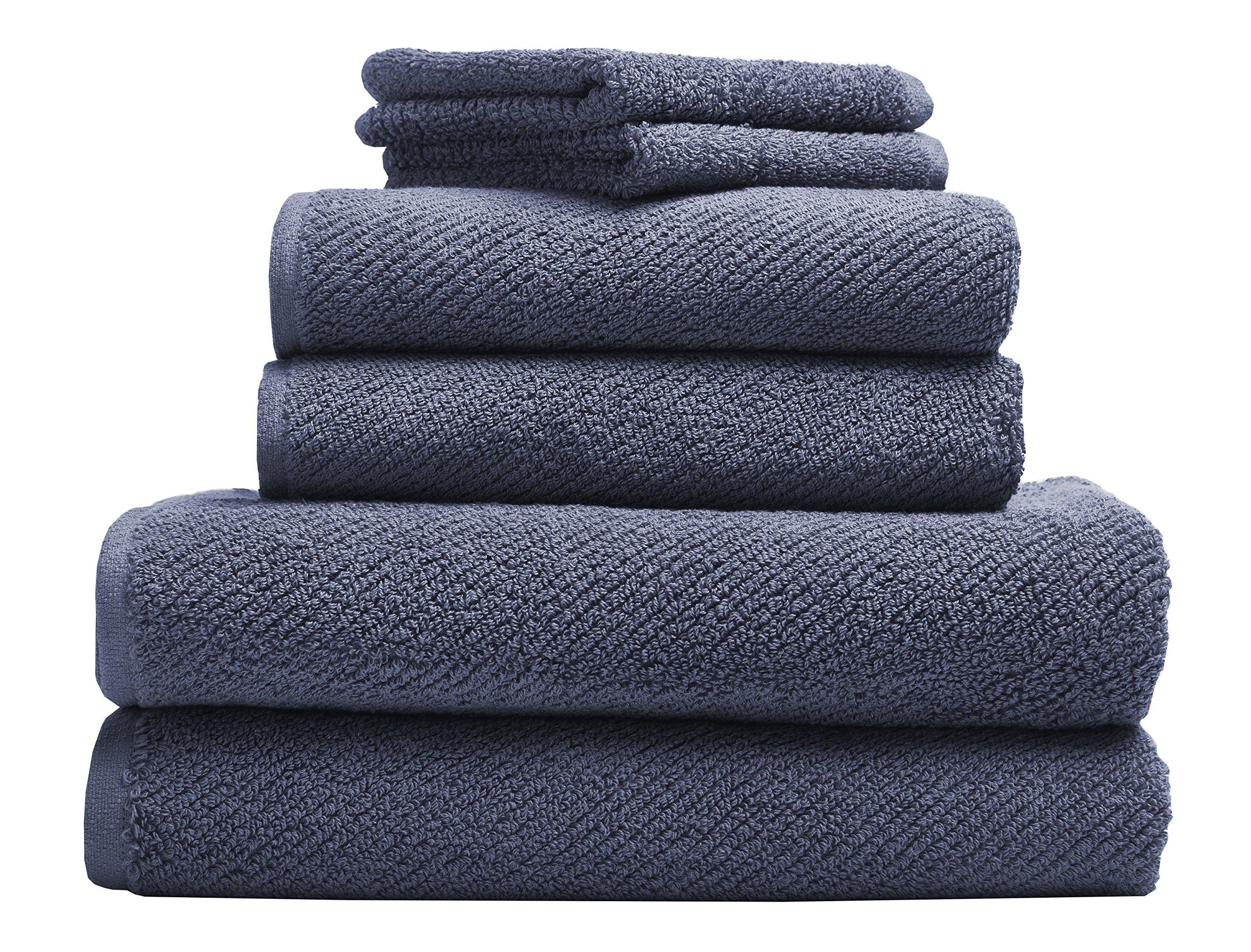 Coyuchi Air Weight Organic 6pc Towel Set, BT, HT, WC, French Blue