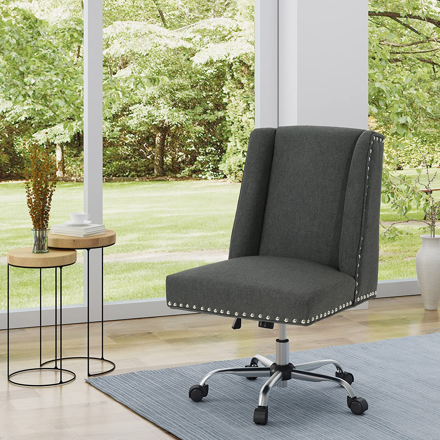 Christopher Knight Home 304854 Quentin Desk Chair, Dark Grey + Chrome