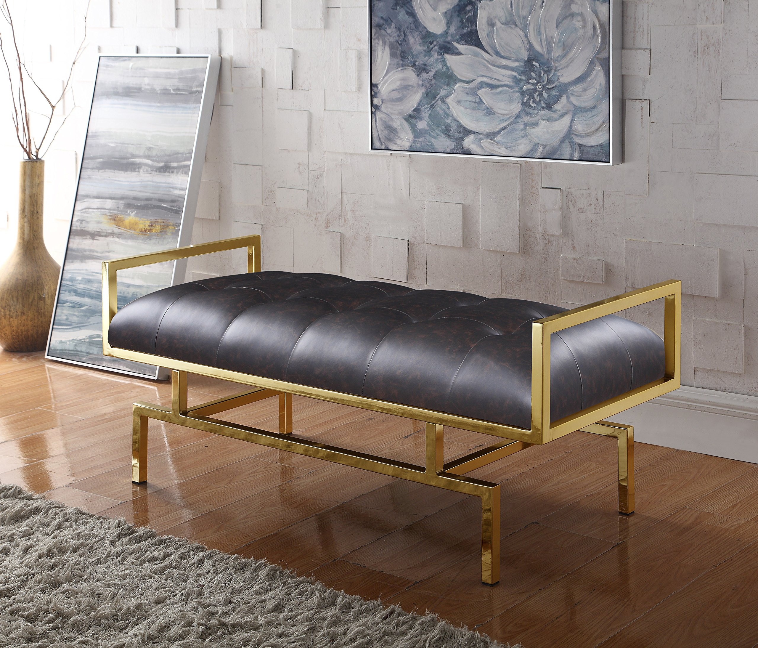 Iconic Home Bruno PU Leather Modern Contemporary Tufted Seating Goldtone Metal Leg Bench, Brown