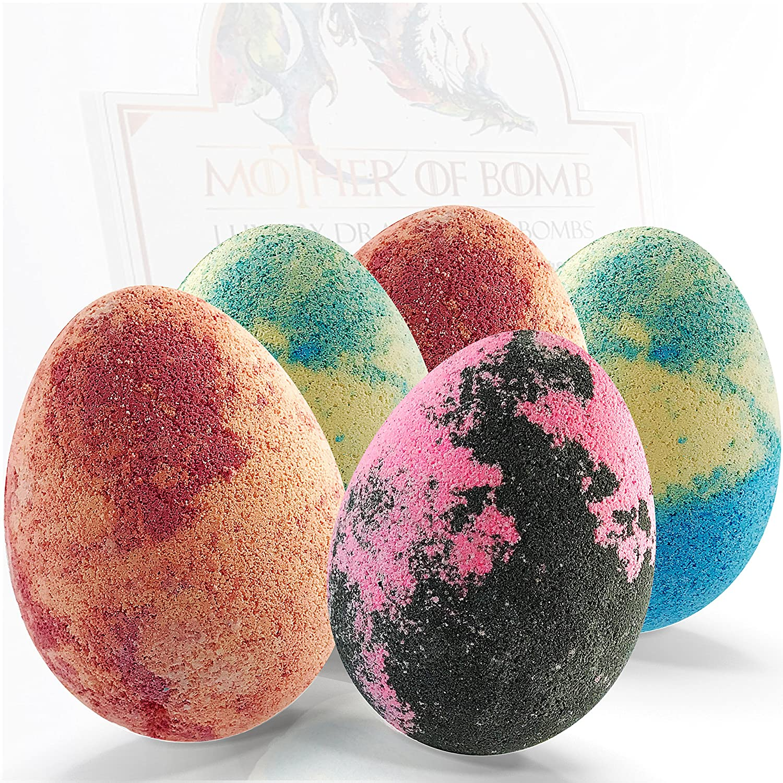 Bath Bombs Gift Set - 5 Dragon Egg Bath Fizzies - 255g Jumbo Bathbombs - UK Made pure sanctum
