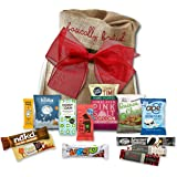 Vegan chocolate bars and vegan snacks gift hamper by The Yummy Palette | 13 bars and snacks in Basically British Rustic Gift Bag