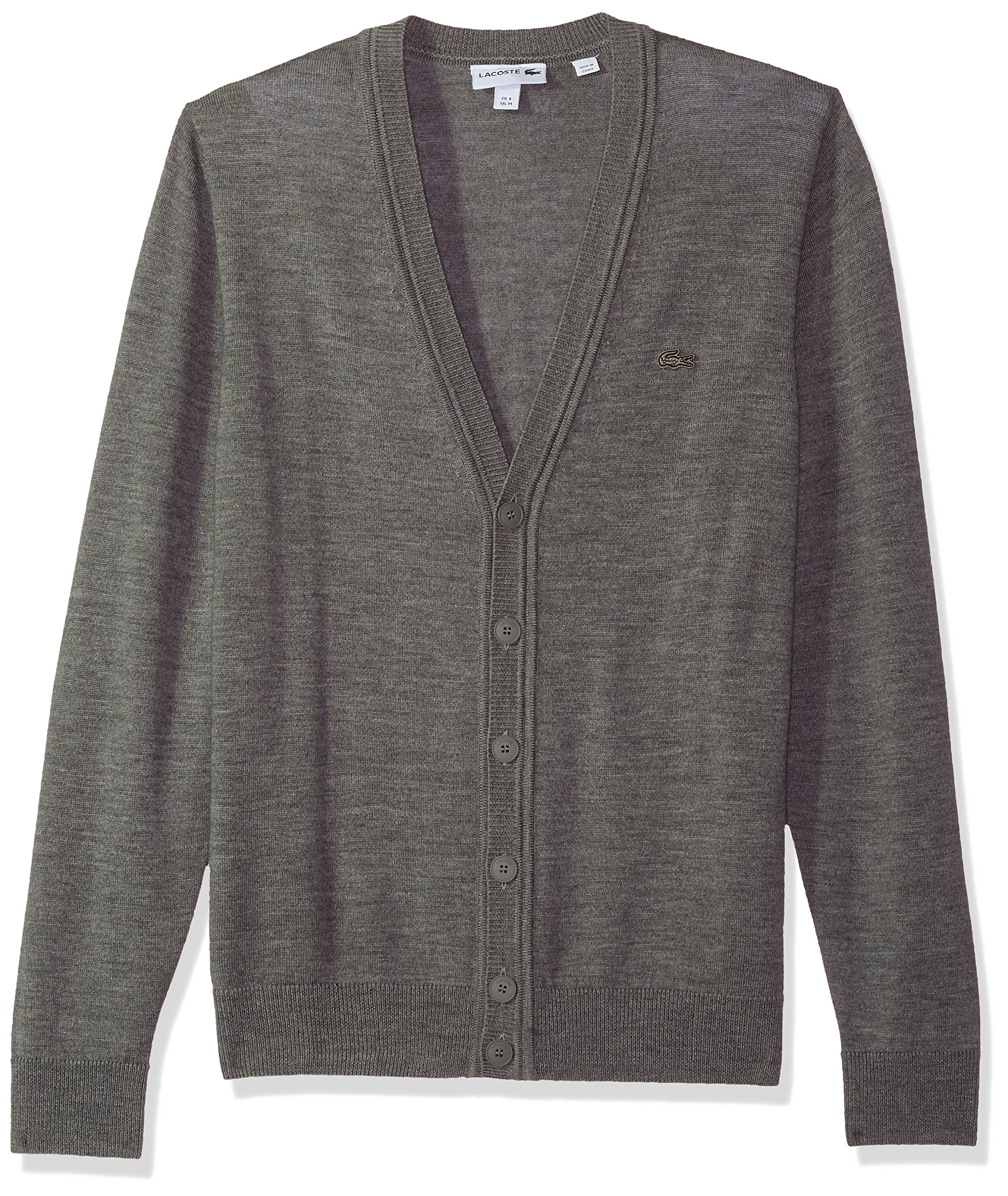 Lacoste Men's Classic Lambswool Cardigan Sweater with Tonal Croc, AH2996, Stone Chine, XXX-Large