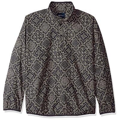 Reyn Spooner Men's Nylon Pullover Jacket Shirt, Diagonal Lahaina - Obsidian, L at Men's Clothing store