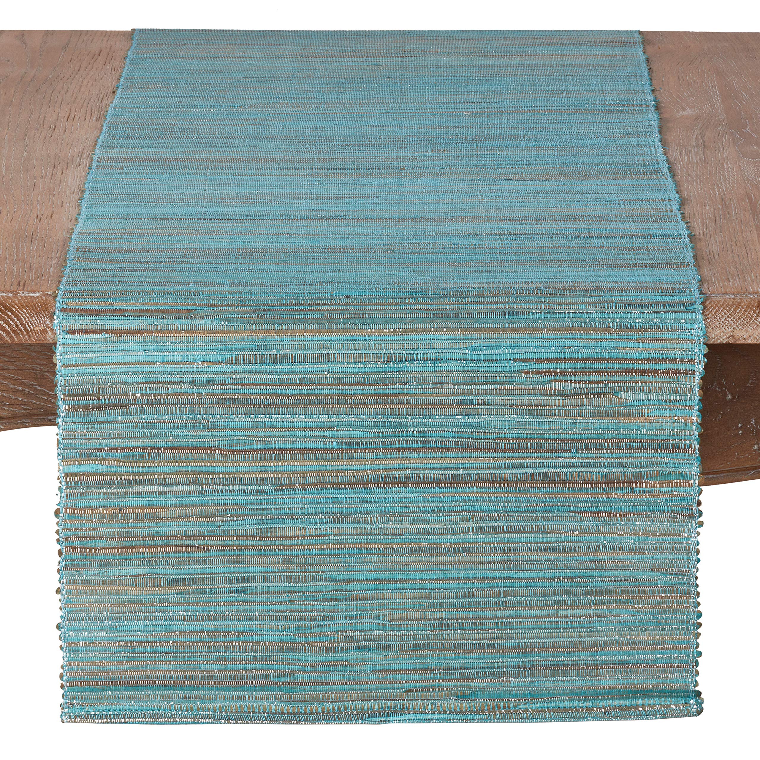 SARO LIFESTYLE 217.TQ14108B Melaya Collection Shimmering Woven Nubby Water Hyacinth Table Runner, 14'' x 108'', Turquoise by SARO LIFESTYLE
