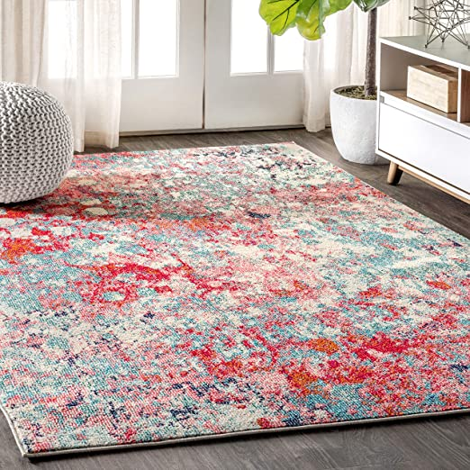 Amazon Com Jonathan Y Contemporary Pop Modern Abstract Blue Red 8 Ft X 10 Ft Area Rug Bohemian Easy Cleaning For Bedroom Kitchen Living Room Non Shedding Furniture Decor