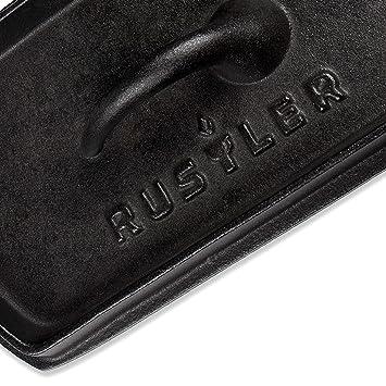 Rustler RS-8460 Olla de Cocina de Hierro Fundido con Mango y Tapa de Acero Inoxidable Negro 22 x 13 x 12 cm: Amazon.es: Jardín