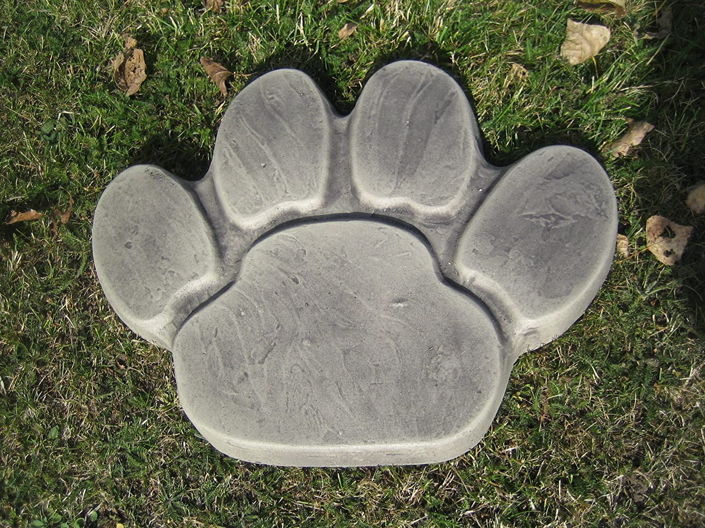 Paw Print Stepping Stone Dog Garden Animal Ornament Patio Path Slab Grey