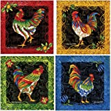 Thirstystone Stoneware Coaster Set, Rooster Flourish